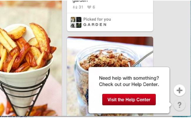 Reporting through Help Center, in the bottom right corner of Pinterest home feed
