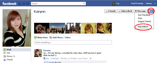 screen shot of facebook page
