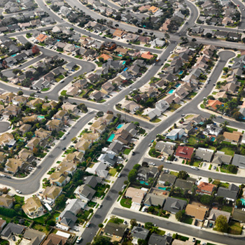 CEQA - Aerial view of a suburban neighborhood.