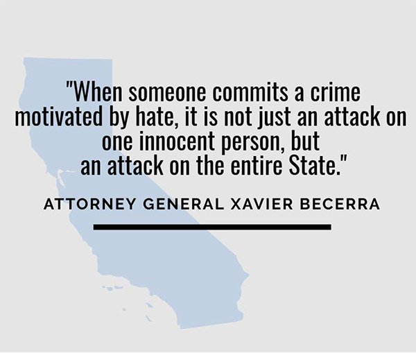 AG Becerra's Quote on Hate Crimes