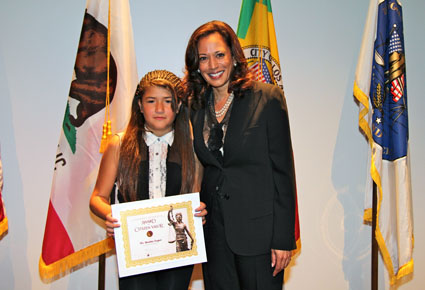 Attorney General Kamala D. Harris and Destiny Lopez, 13, of Long Beach, who received a Citizen Valor Award today