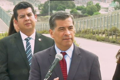 California Attorney General Xavier Becerra holds press conference to announce a lawsuit against the Trump Administration over its plan to begin construction of border wall projects in San Diego and Imperial Counties.