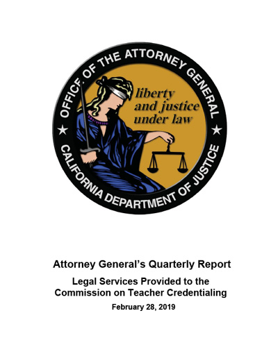Download Attorney General's Quarterly Report February 28, 2019