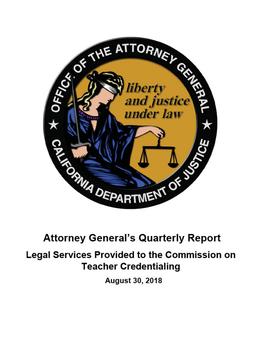 Attorney General's Quarterly Report August 30, 2018