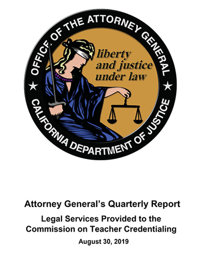Attorney General's Quarterly Report August 30, 2019