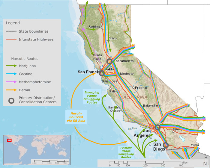 Figure 5: Primary Narcotics Trafficking Routes in California (2014)