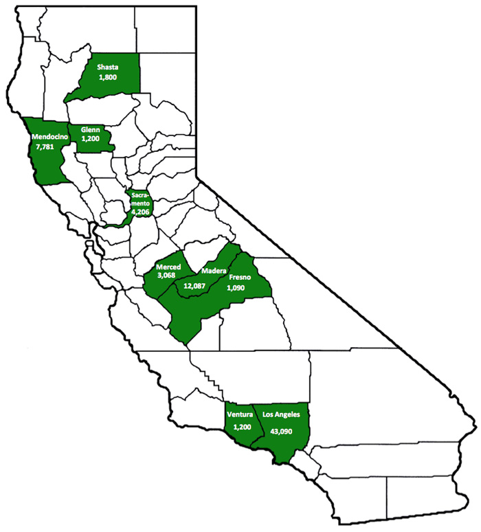 Figure 6: Counties with Task Force Seizures of Processed Marijuana in Excess of 1,000 Pounds (FY 2012-2013)