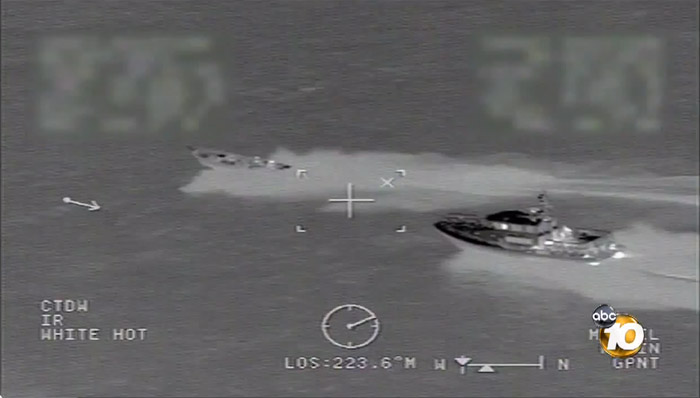 Video screenshot: U.S. Coast Guard intercepts 31 bales of marijuana after high-speed chase on the ocean