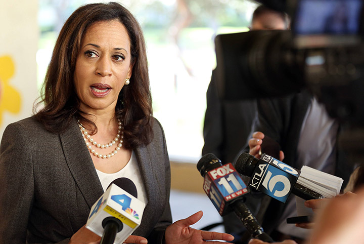 Attorney General Harris interviewed by reporters
