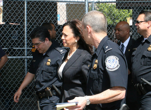 Attorney General Kamala D. Harris tours the Calexico port of entry